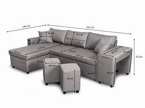 Canapé Lit Angle : canap d 39 angle convertible en lit avec poufs oslo gris clair ~ Teatrodelosmanantiales.com Idées de Décoration