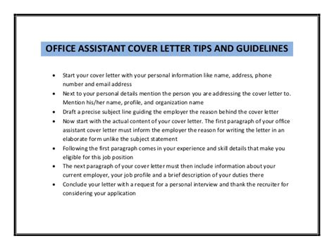 Office Assistant Cover Letter by Office Assistant Cover Letter Sle