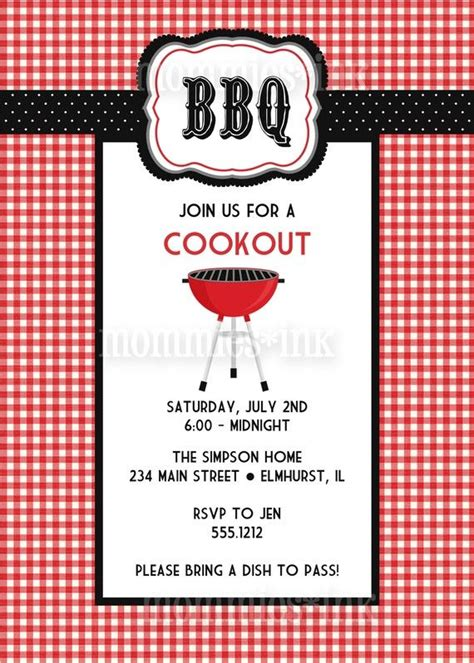 BBQ Invitation Love the red and white checkered print