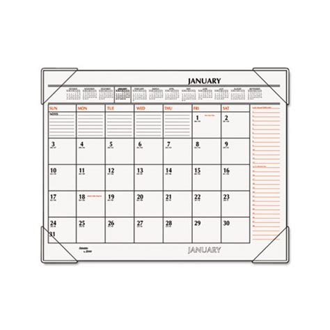 monthly desk pad calendar at a glance two color monthly desk pad calendar