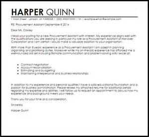 procurement resume cover letter exles procurement assistant cover letter sle livecareer