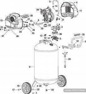 Husky 33 Gallon Quiet Air Compressor  C331h