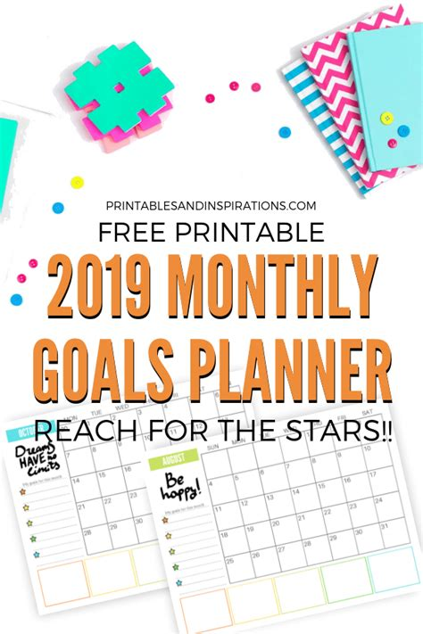 monthly goals calendar printable printables