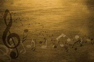 Old Yellow Vintage Music Notes Background - PhotoHDX