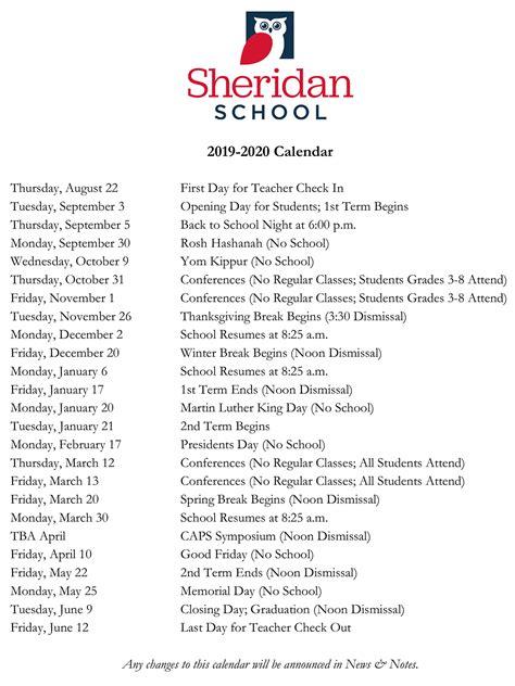 calendar sheridan school