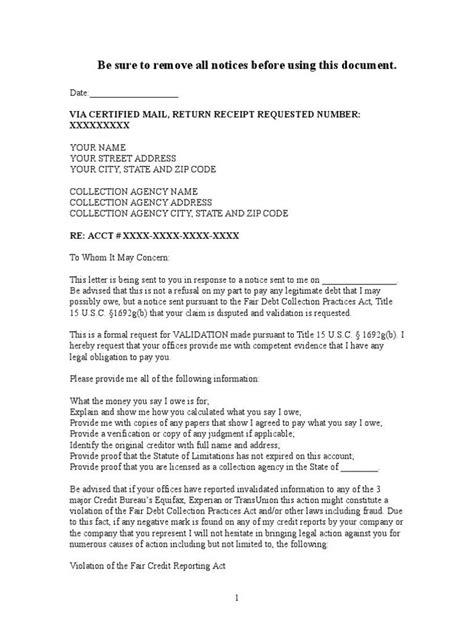 debt collection letter sample debt validation letter