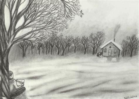 Drawn Landscape Scenery Pencil And In Color Drawn