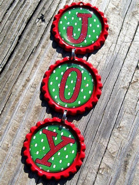 joy bottle cap ornament handmade personalized christmas