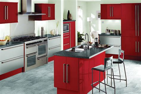 Kitchen Design With Red, Black, And White Concept