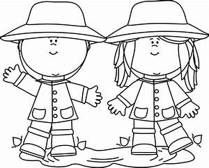 Black and White Kids Playing in a Rain Puddle Clip Art ...
