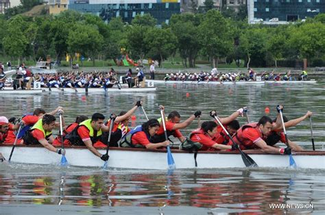 Dragon Boat Festival Istanbul by Competitors Paddle In Dragon Boat Race In Istanbul Turkey