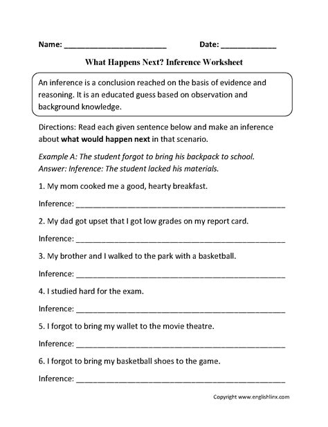 inference worksheets reading