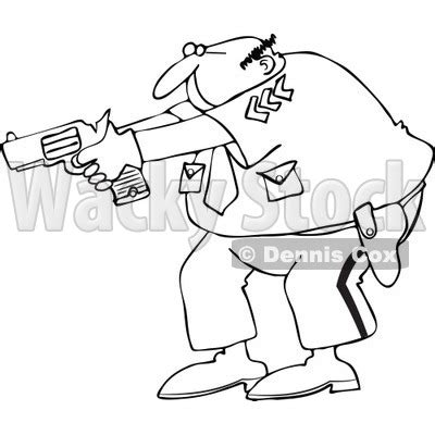 policeman with gun clipart black and white clipart outlined officer aiming his gun