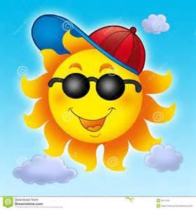 Blue Sky with Sun Cartoon