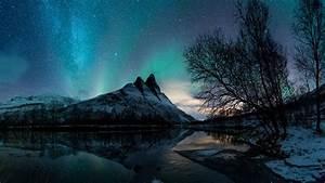 Aurora, Borealis, Lake, Mountain, Night, Reflection, Under