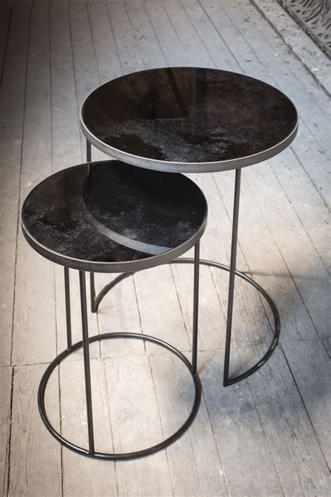 bronze table l set the notre monde round nesting side table set in bronze