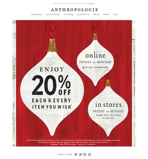 christmas sale email  anthropologie emaildesign