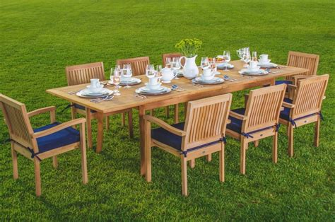 teak wood table and chairs wholesaleteak 9 piece grade a teak outdoor dining set with