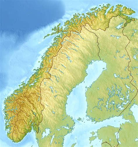 Большая детальная рельефная карта Норвегии. Норвегия - большая детальная рельефная карта ...