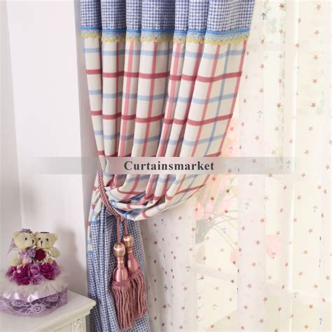 country style blue plaid curtains for room