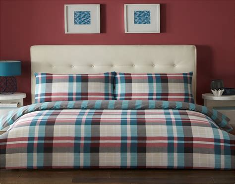 Checked & Striped Quilt Duvet Cover & Pillowcase Bedding