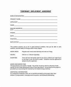 sample employment contract 6 documents in pdf word With temporary employment contract template free
