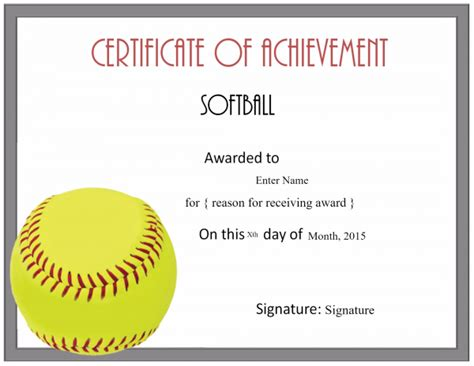 softball certificate templates customize