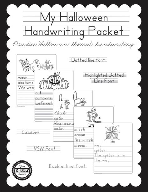 halloween handwriting packet  therapy source