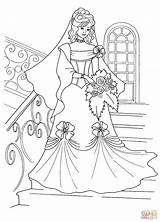 Coloring Princess Printable Dresses Bride Drawing Disney Gown Flower Clipart Games Paper sketch template