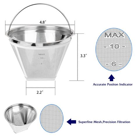 This makes refilling very convenient since you can safely size up the content right under the flowing tap. #4 Reusable Permanent Cone Coffee Filters, 8~12 Cup Size 4 Coffee Filters, Perfect Fit for ...