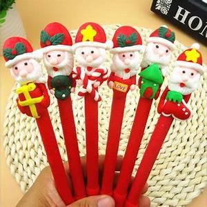 Christmas Santa Claus Crutches Style Soft Ceramic Ball Pen