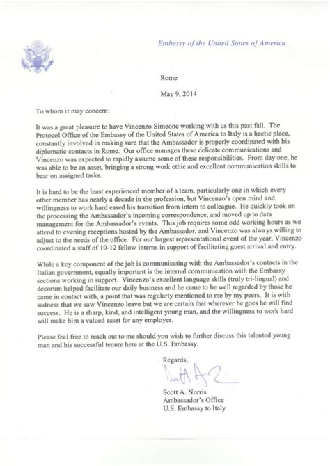 reference letter  embassy