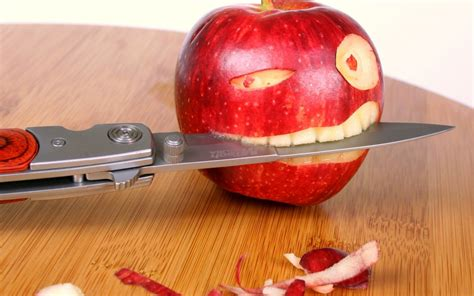 Apple With Knife Funny Wallpaper Hd Wallpapers