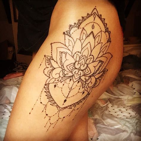 newest tattoo linework mandala hip tattoo thigh tattoo