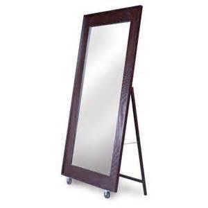 floor mirror brown brown wooden roller floor mirror