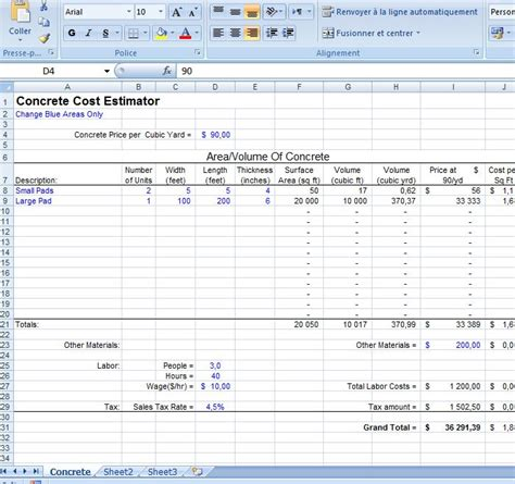 excel concrete cost estimator civil engineering program