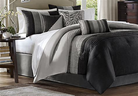 Brenna Black Gray 7 Pc King Comforter Set