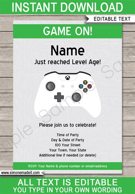 xbox party printables invitations decorations video