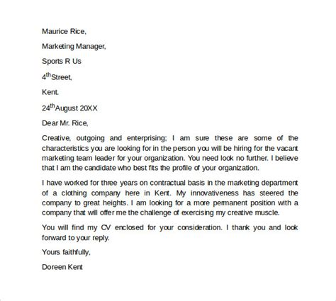 marketing cover letter template examples