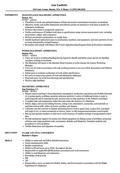 Machinist Resume by Machinist Apprentice Resume Sles Velvet