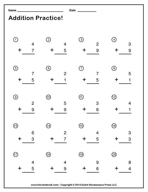 free printable addition worksheets part 1 worksheet