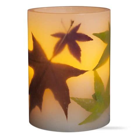 flameless led autumn leaves pillar candle short teton