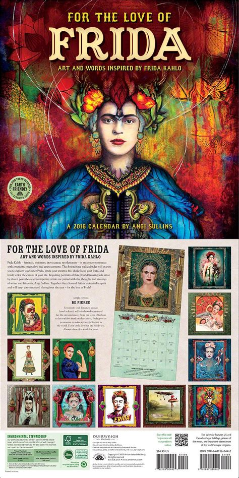 love frida wall calendar calendars collage art