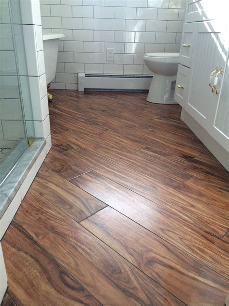 farmhouse bathroom porcelain wood tile   diagonal