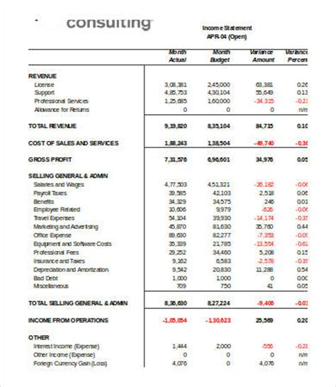 income statement template excel   excel documents