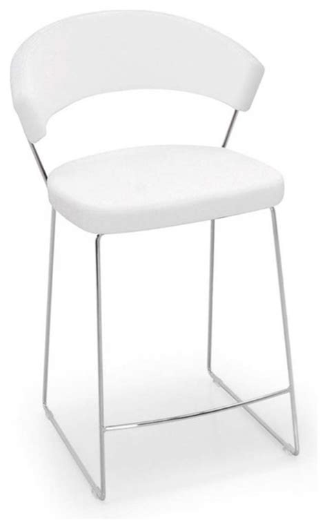 Modern White Leather Bar Stools by New York Counter Stool Leather Optic White Modern Bar