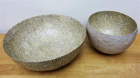 printing  gelli arts paper mache bowls  gelli