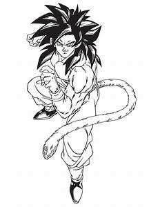 Dragon Ball Z Coloring Pages Goku Super Saiyan 4