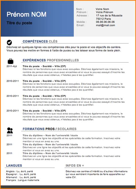 Exemple Type Cv by Type Cv Mise En Page Cv Gratuit Jaoloron
