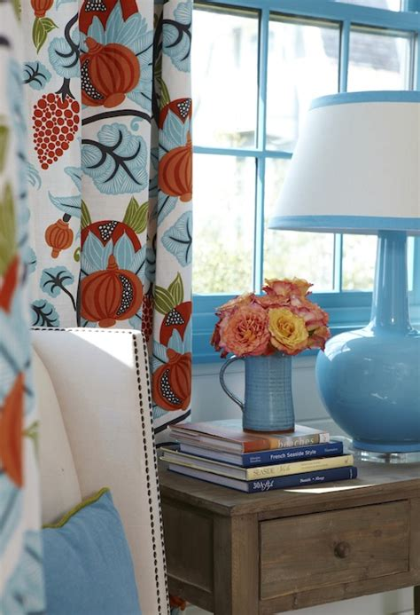 orange and blue curtains blue and orange curtains cottage bedroom tracery